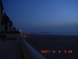 夕日が沈んだ海