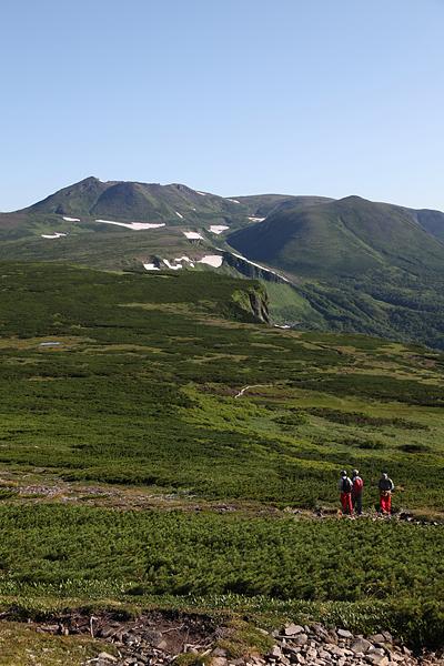 トムラウシへの縦走路から大雪山を振り返る