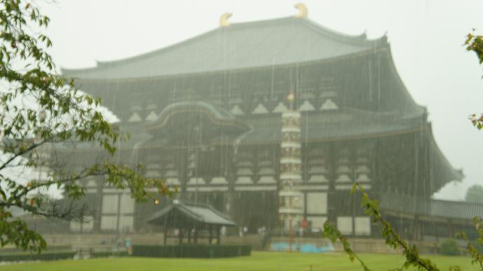 雨に煙る大仏殿
