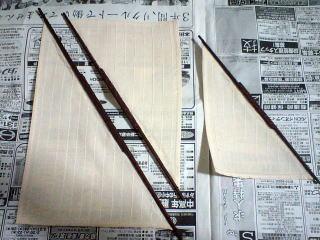 各帆桁に縫い止め作業完了。