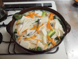 サーモンカマと鶏団子の豆乳36