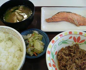 牛皿・鮭定食