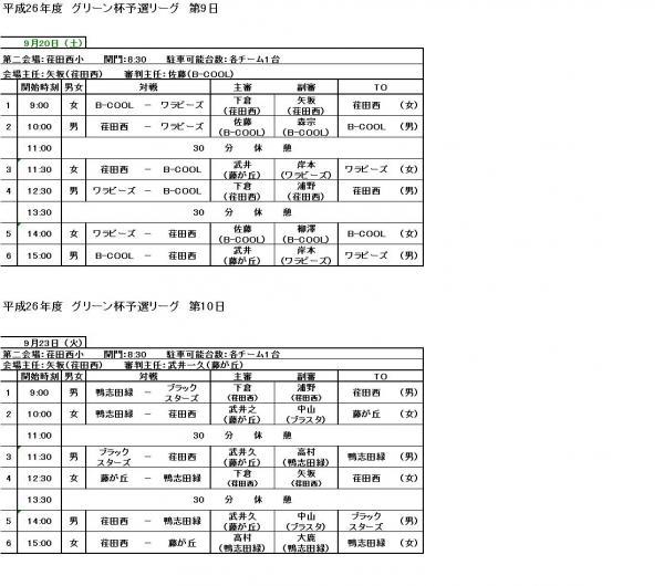 グリーン杯予選第9日・第10日タイムスケジュール