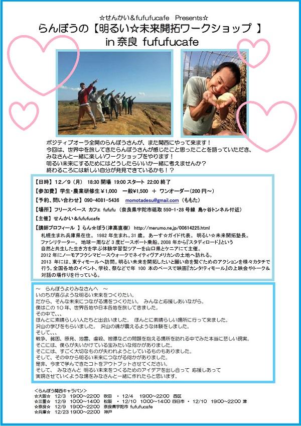 らんぼうの【明るい☆未来開拓ワークショップ 】in奈良!(小)