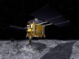 「はやかわ」による小惑星の土壌サンプル採取イメージ
