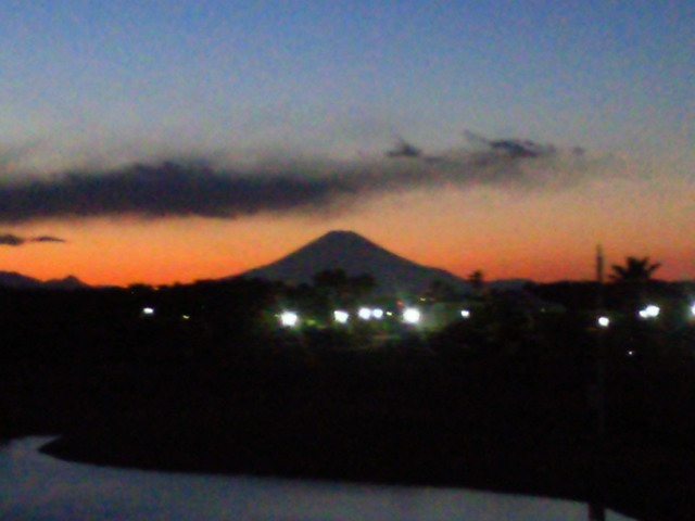 湘南の夕日・富士山