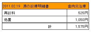2011.02.19 凛の診療明細書