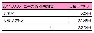 2011.03.05 ユキの診療明細書
