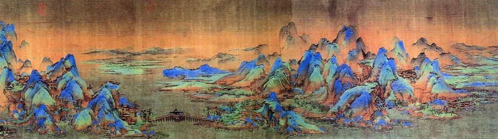 千里江山图卷局部之一 王希孟(1096—?),北宋画家