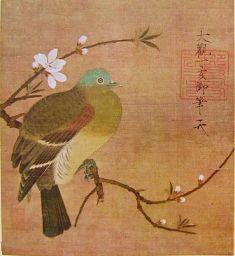 ki 133徽宗皇帝画「桃鳩図」