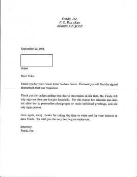 Jane Fonda 手紙