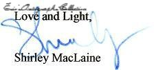 Shirley MacLaine.sign