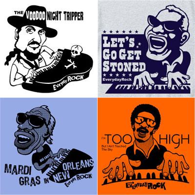 Professor Longhair Dr. John Ray Charles Stevie Wonder EverydayRock T Shirt Caricature