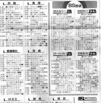 高知新聞にBSスカパー!番組表掲載紙面