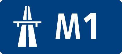 英国の高速道路標識(M1)