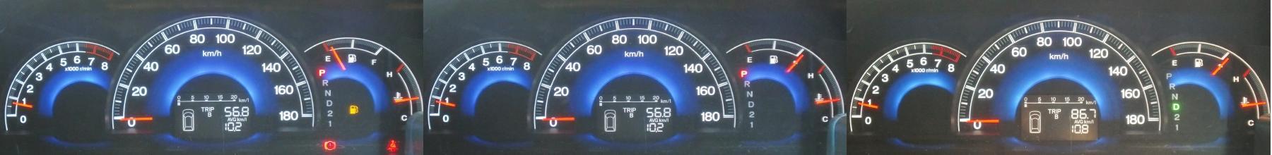 久々に、日中(9時30分出発、2箇所で1~2時間駐車、ガソリンを給油、15時帰宅。行きに神立工業団地付近で数Kmの渋滞に巻き込まれました。)の一般道の燃費を計測しました。