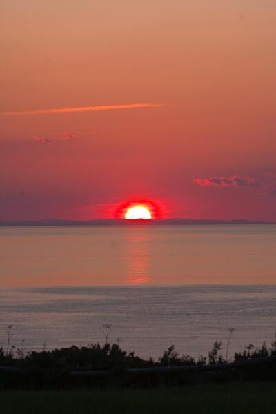 道北に沈む夕陽