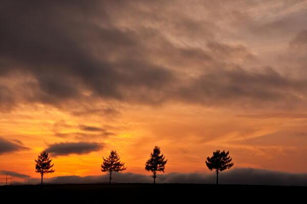 黒雲と夕焼け
