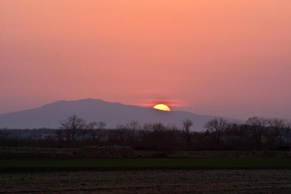 藻琴山への落日