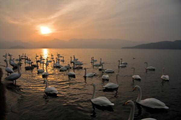 夕焼けの湖  屈斜路湖