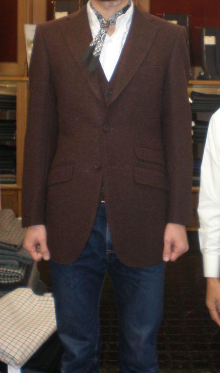 デニムに合うハリスツイードのオーダージャケット
