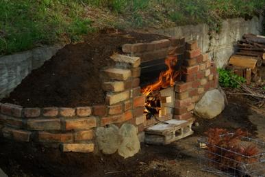 ピザ窯づくり-火入れ
