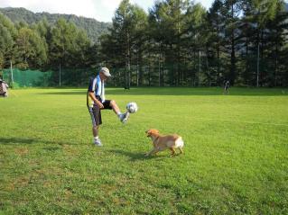 犬とサッカーしたり