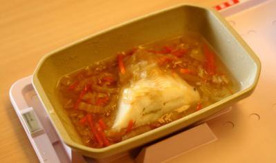 三分菜食8月1日昼食 白身魚あんかけ(蒸し)