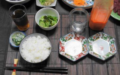 自宅819ゆ 8月19日夕食風景ごはん・ジュース
