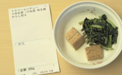よ9月27日夕食 メニュー 軟食・全粥