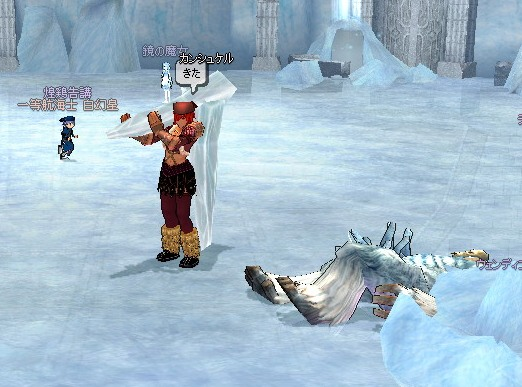 氷の柱で五寸釘。