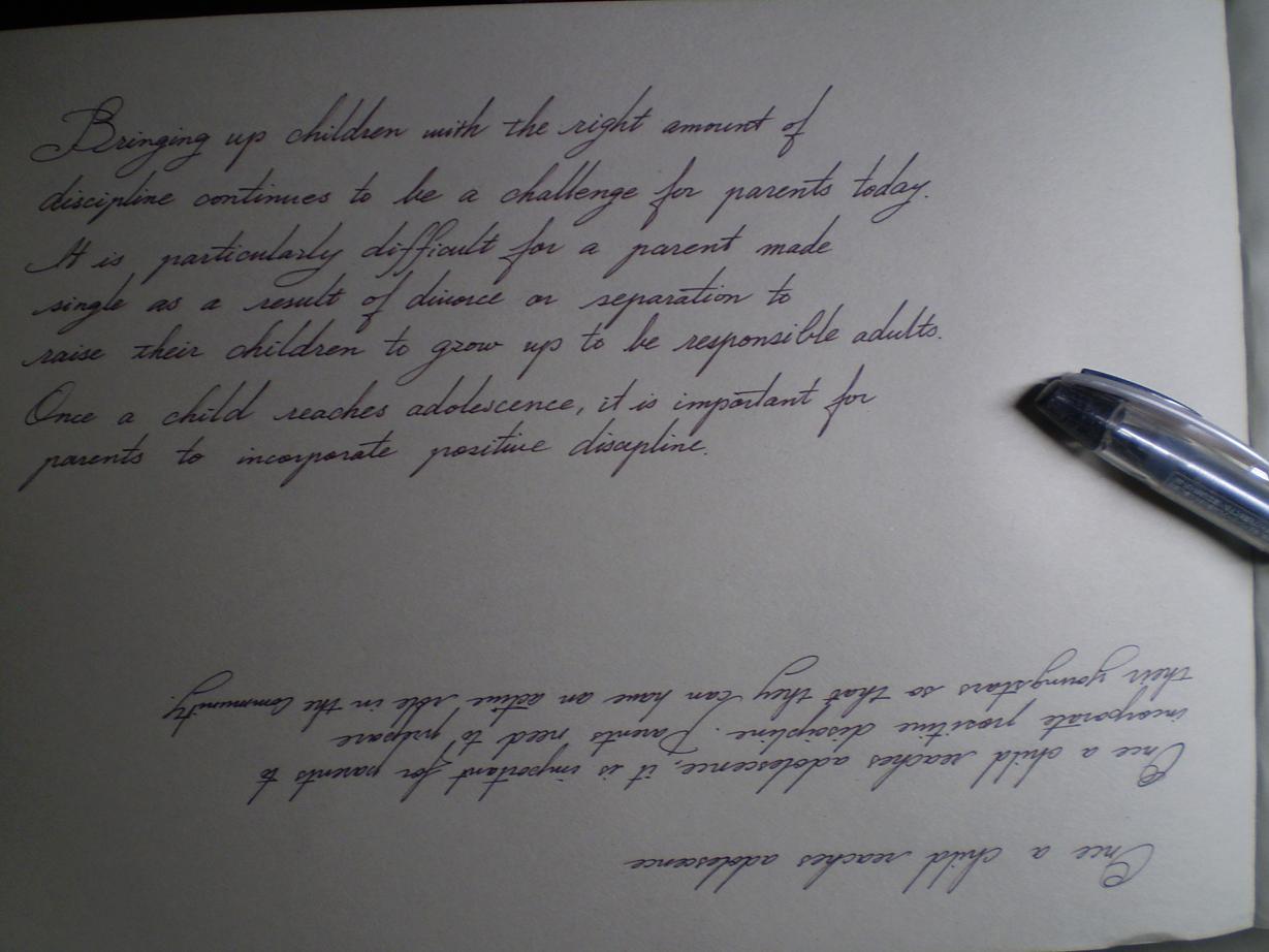 文字の練習、筆記体