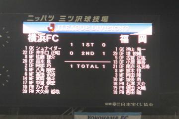 終盤間近の時間帯、スコアボードは1-1、福岡の選手として西田の名も