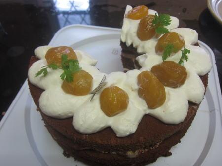 桃ままシフォンデコケーキ