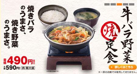 9861 吉野家HD 牛バラ野菜焼定食
