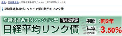 早期償還条項付ノックイン型日経平均株価連動円建社債