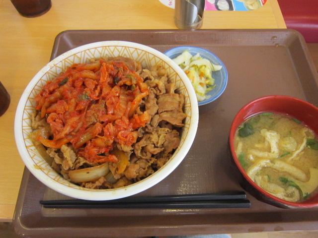 10:02 キムチ牛丼(特盛)とおしんこセット\(^o^)/