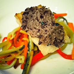 Olive crusted halibut