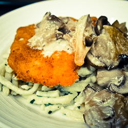 Schnitzel and spaetzle with mushroom sauce