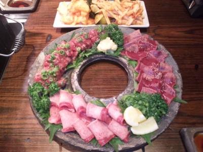 141007焼肉萬野ホルモン舗天王寺肉食縁会コース5000円飲み放題付きキムチと炙り肉とタン