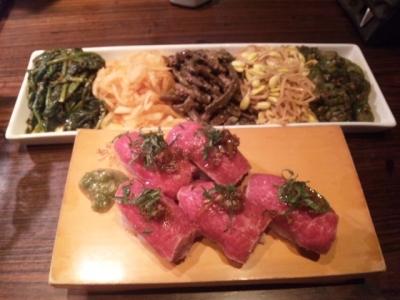 141007焼肉萬野ホルモン舗天王寺肉食縁会コース5000円飲み放題付き前菜ナムルと寿司