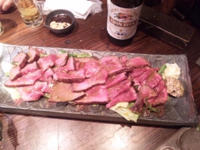 141007焼肉萬野ホルモン舗天王寺肉食縁会コース5000円飲み放題付き和牛塊肉の豪快焼きローストビーフに
