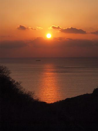 駿河湾に見える夕日