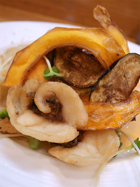 120805ロザリエッタ-活〆天然黒鯛と活き渡り蟹の冷製パスタ具