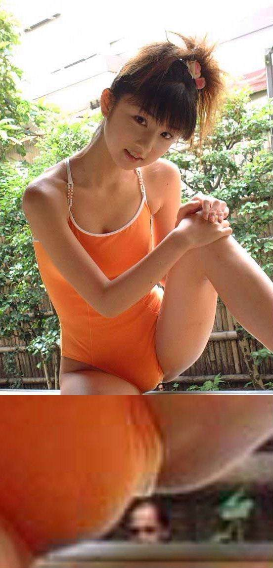 水着姿の小倉優子の股間部分に写るおっさん