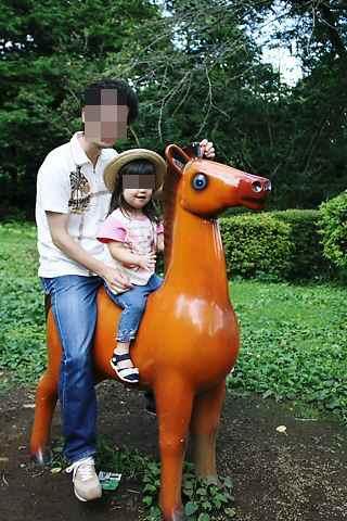 馬に乗ってます