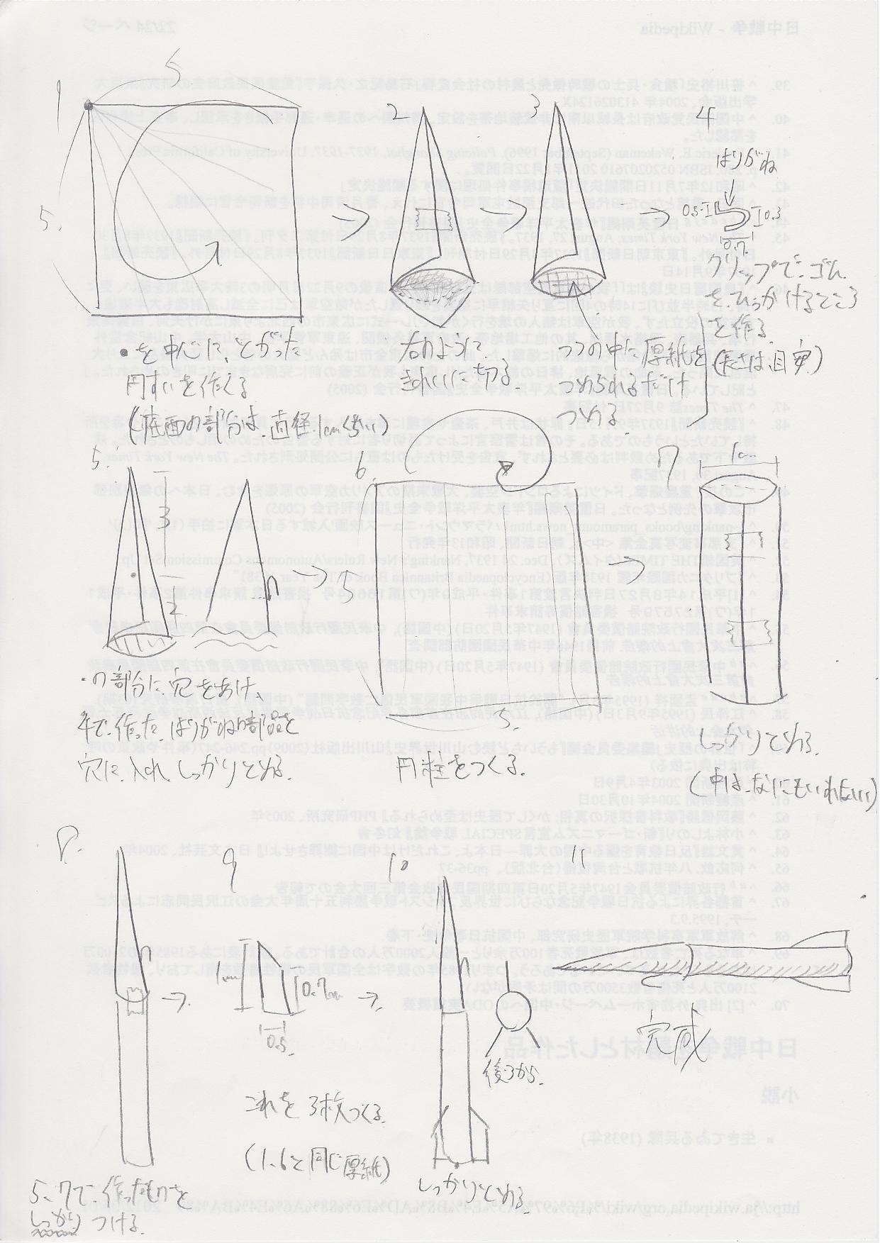 紙製ロケットの作り方