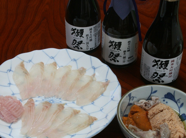 IMG_0113 メイタガレイの刺身 大吟醸たち W