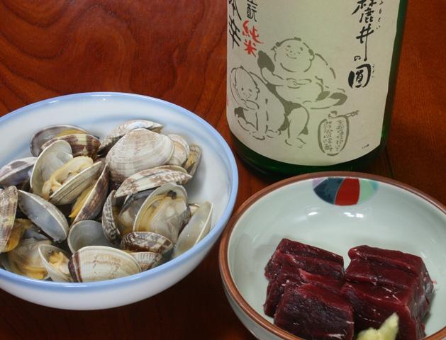IMG_0114 アサリの酒蒸し クジラ刺し W