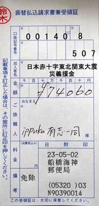 日本赤十字社へ送金。
